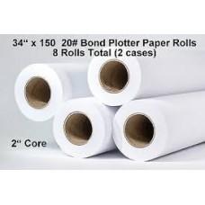 "1 Roll 22""x150' 20lb Bond Plotter Paper - 2"" core"